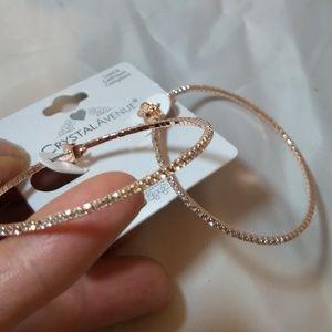 Jewelry - Beautiful lightweight rose gold hoop Crystal earri